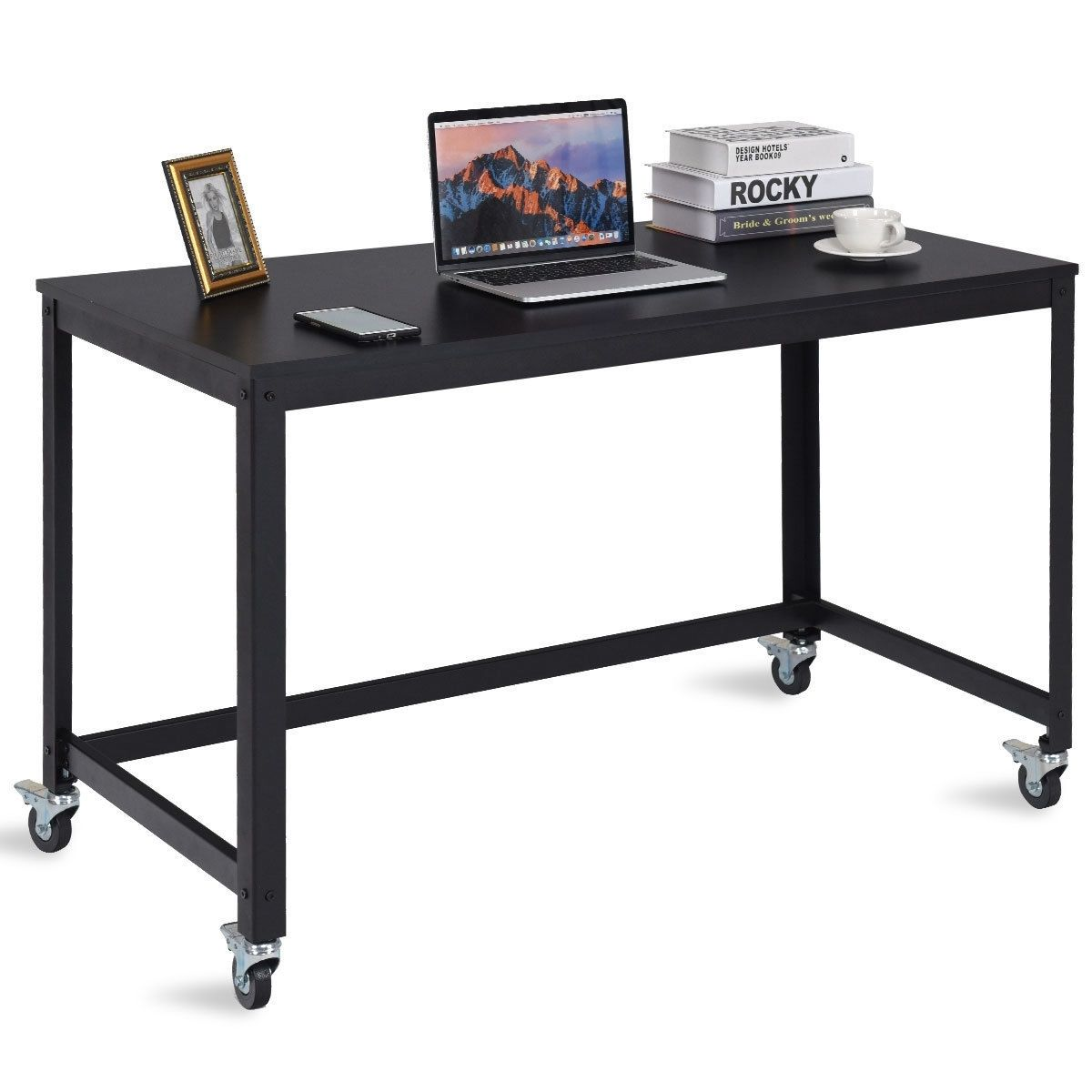 Wood Top Metal Frame Rolling Computer Desk Laptop Table Black In 2020 Wood Office Desk Home Office Furniture Desk Home Office Desks
