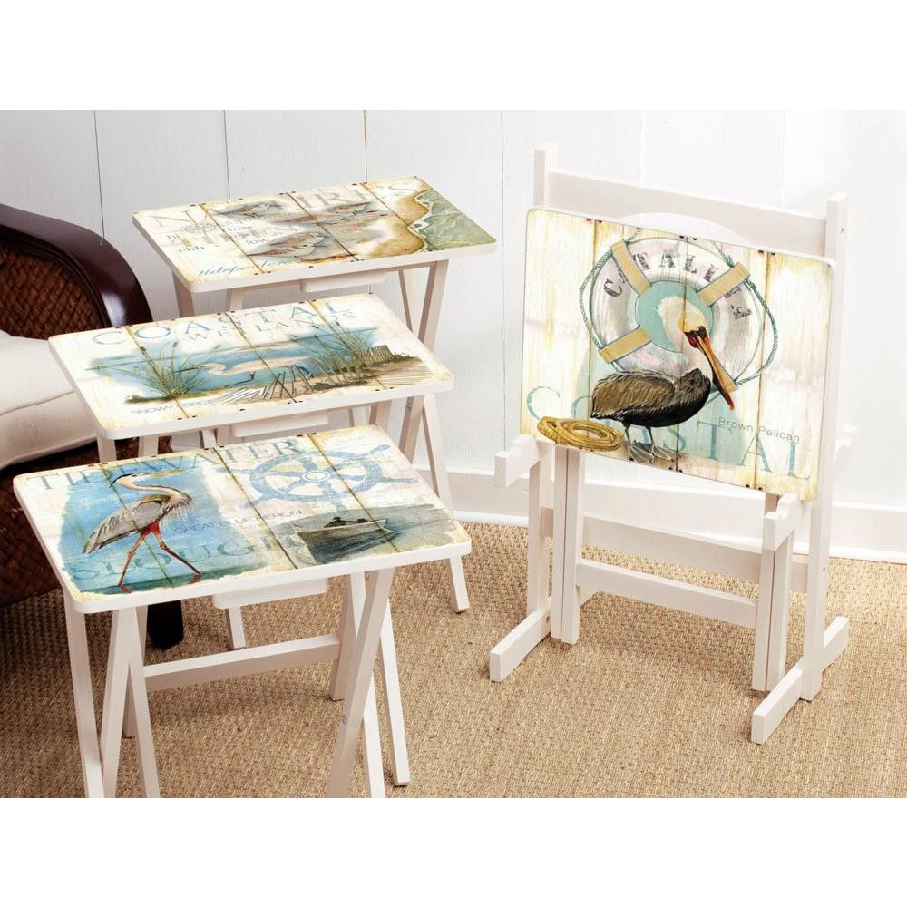 Cape Craftsmen Shore Birds TV Tray with Stand (Set of 4