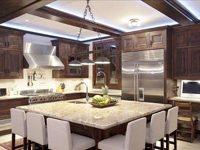 Large kitchen islands with seating for 6 kitchen has an for Large kitchen designs photos