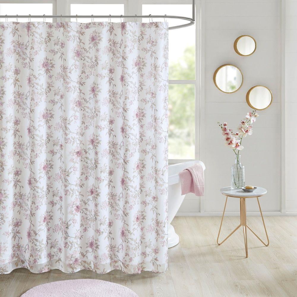 Madison Park Prim Floral Embellished Shower Curtain Shower