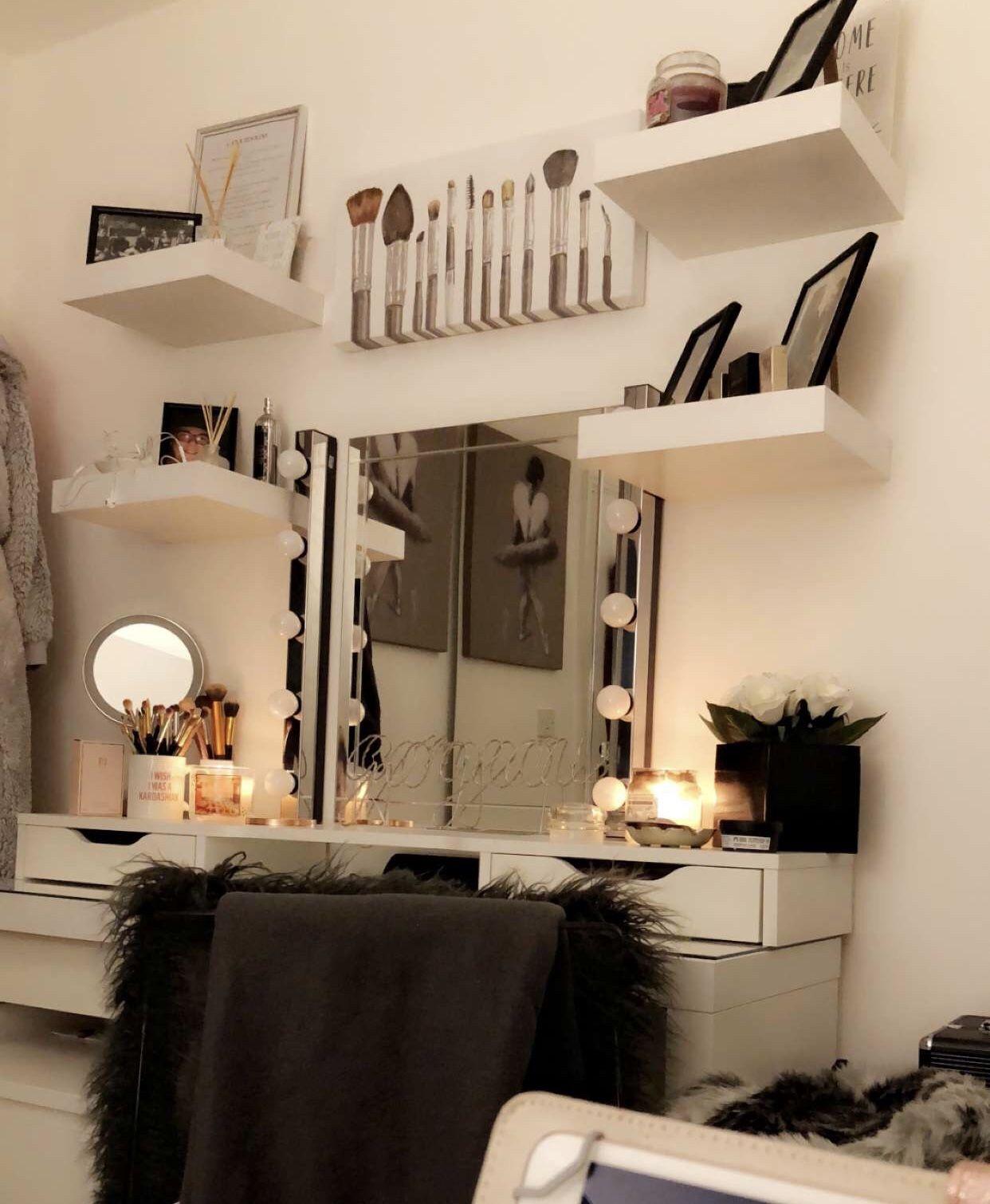 Bedroom Homedecor Vanity Ikea Inspo White Grey Black Makeup Shelves Mirror Vanity Room Decor Shelf Decor Bedroom Modern Bedroom Furniture