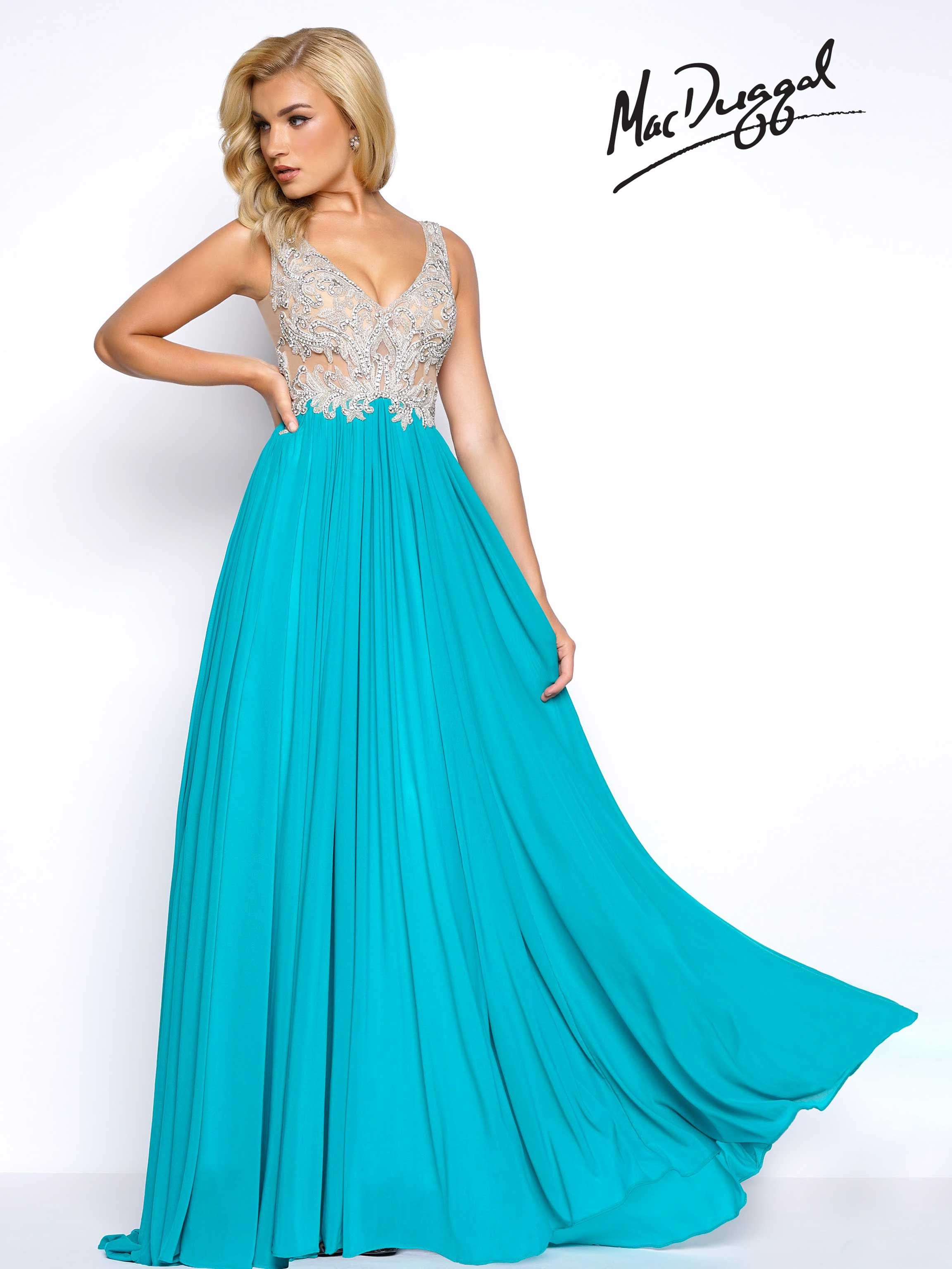 Prom dress with corset illusion and lace bodice and chiffon skirt ...