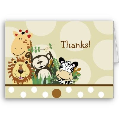 Animal Theme Thank you Cards Stationery