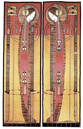 Margaret Macdonald Mackintosh (1865-1933) - Embroidered & Appliqued Panels. Circa 1902.