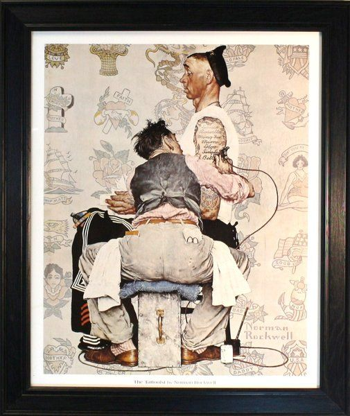 The Tattooist Norman Rockwell Print Size 18x22 Norman