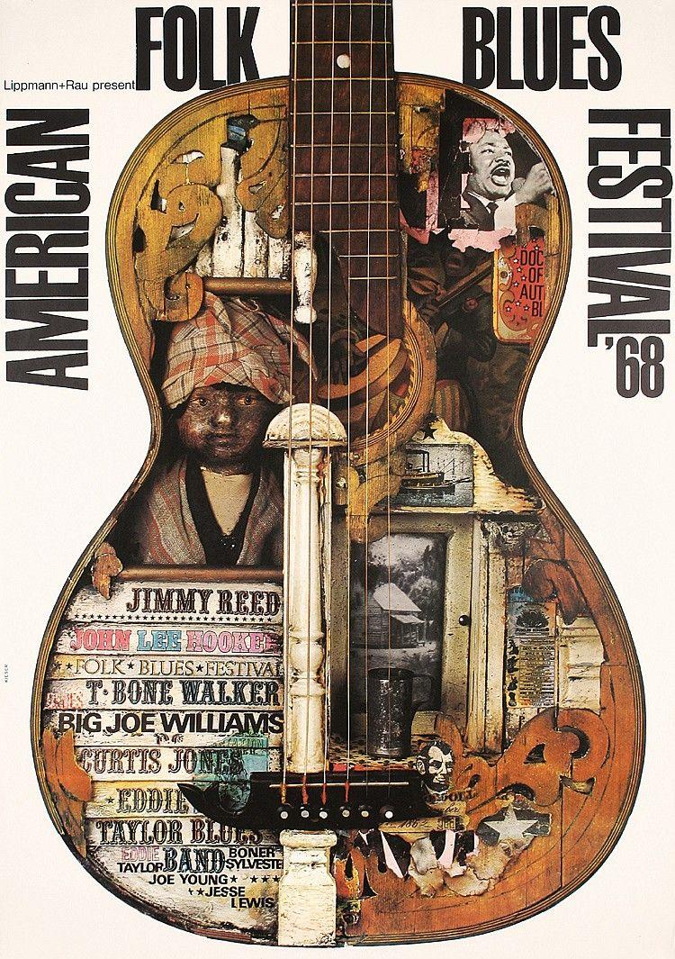 Original 1960s KIESER American Folk Blues Poster