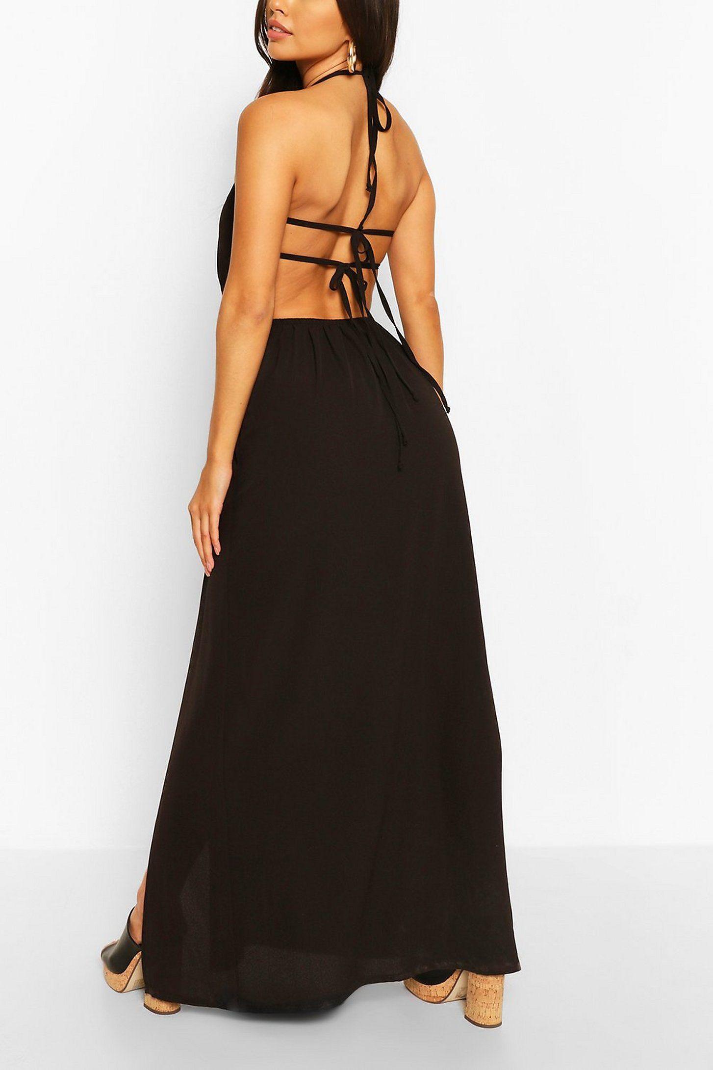 Woven Strappy Back Halterneck Split Maxi Dress Boohoo Split Maxi Dress Maxi Dress Collection Latest Maxi Dresses [ 2181 x 1454 Pixel ]