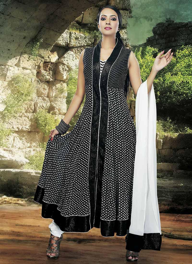 Cbazaar black viscose anarkali suit indian u pakistani dresses