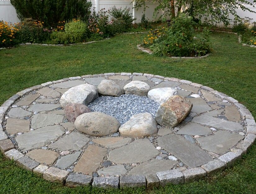 Fire Pit With Beach Pebbles Boulders