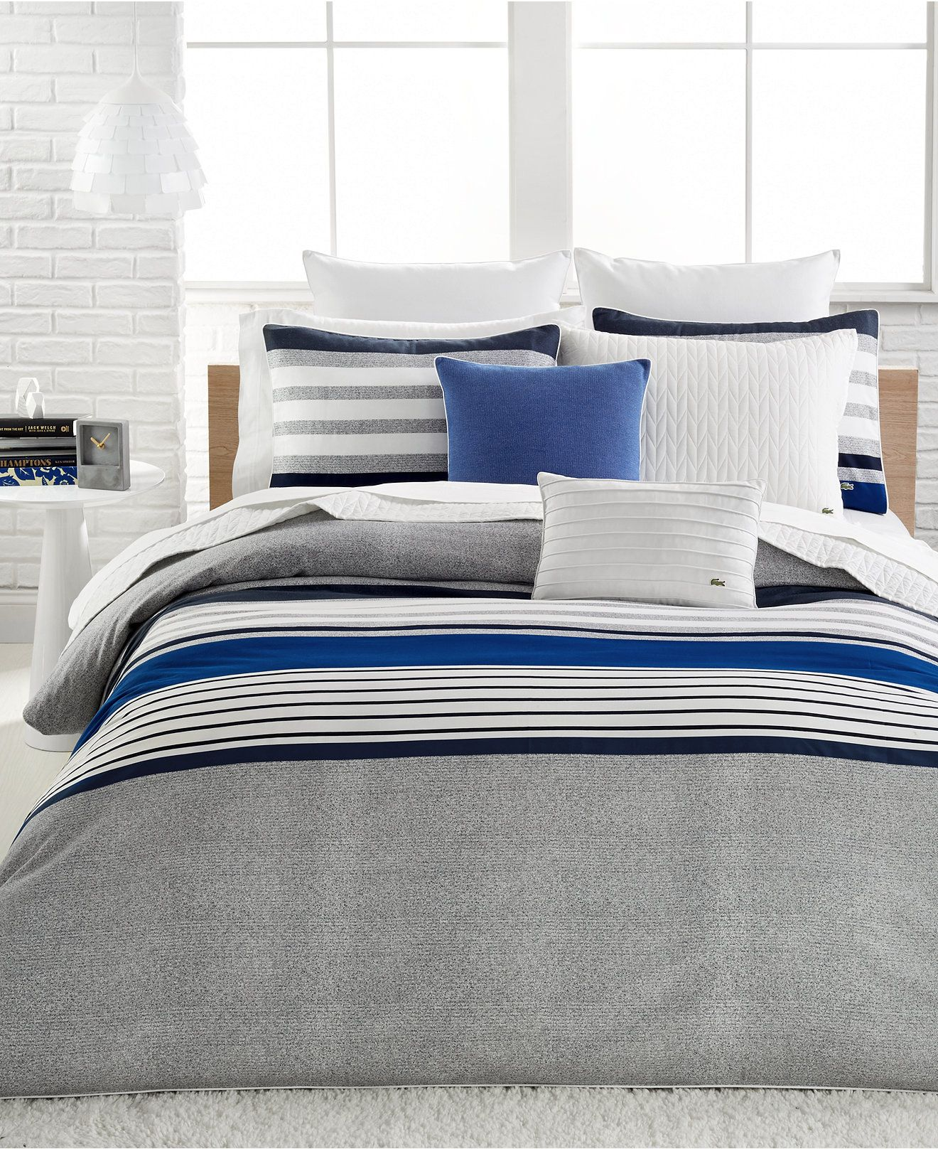 Lacoste Auckland Blue Bedding Collection, 100 Cotton