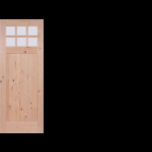Krosswood Knotty Alder 6-Lite 1 Panel Craftsman w/Clear Beveled Glass