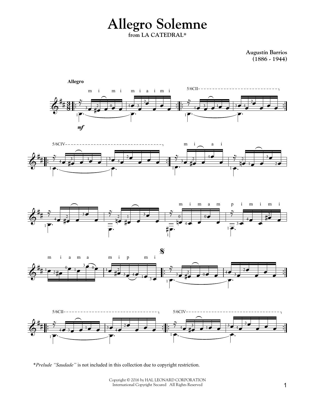 Augustin Barrios Mangore Allegro Solemne Sheet Music Notes Chords Score Download Printable Pdf Sheet Music Notes Sheet Music Music Notes
