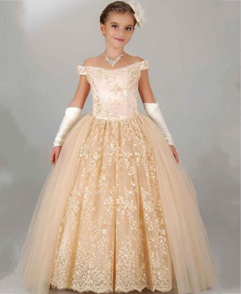 Off the Shoulder Champagne Flower Sleeve Embroidery Girls Formal Birthday Dress