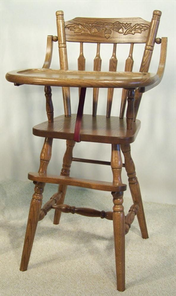 baby furniture-wood high chair-amish-acorn back | amish high