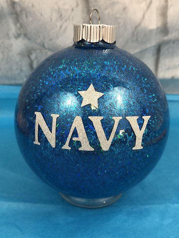 Navy, Stars, Blue Shimmering Glass Large Christmas Ornament, New