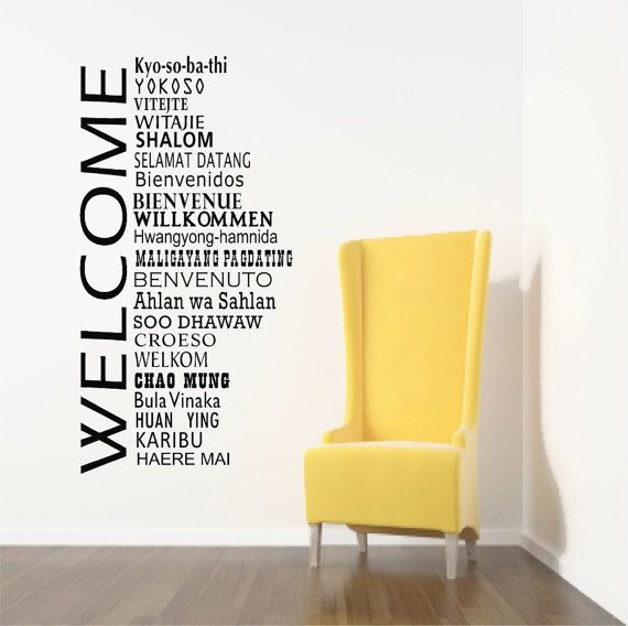 Welcome Wall Decals International Welcome Words Welcome Etsy Office Wall Decor Welcome Words Office Walls