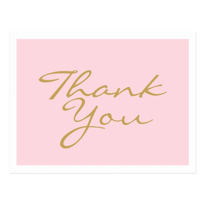 Pink And Gold Thank You Postcard - tap/click to get yours right now! #Postcard #thank #you #pink #gold #typography