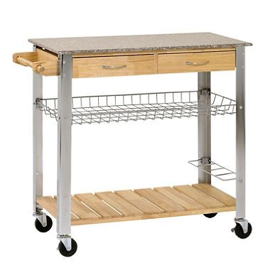 Sandusky Rubber Wood Kitchen Trolley With Marble Top 124 From Sam S