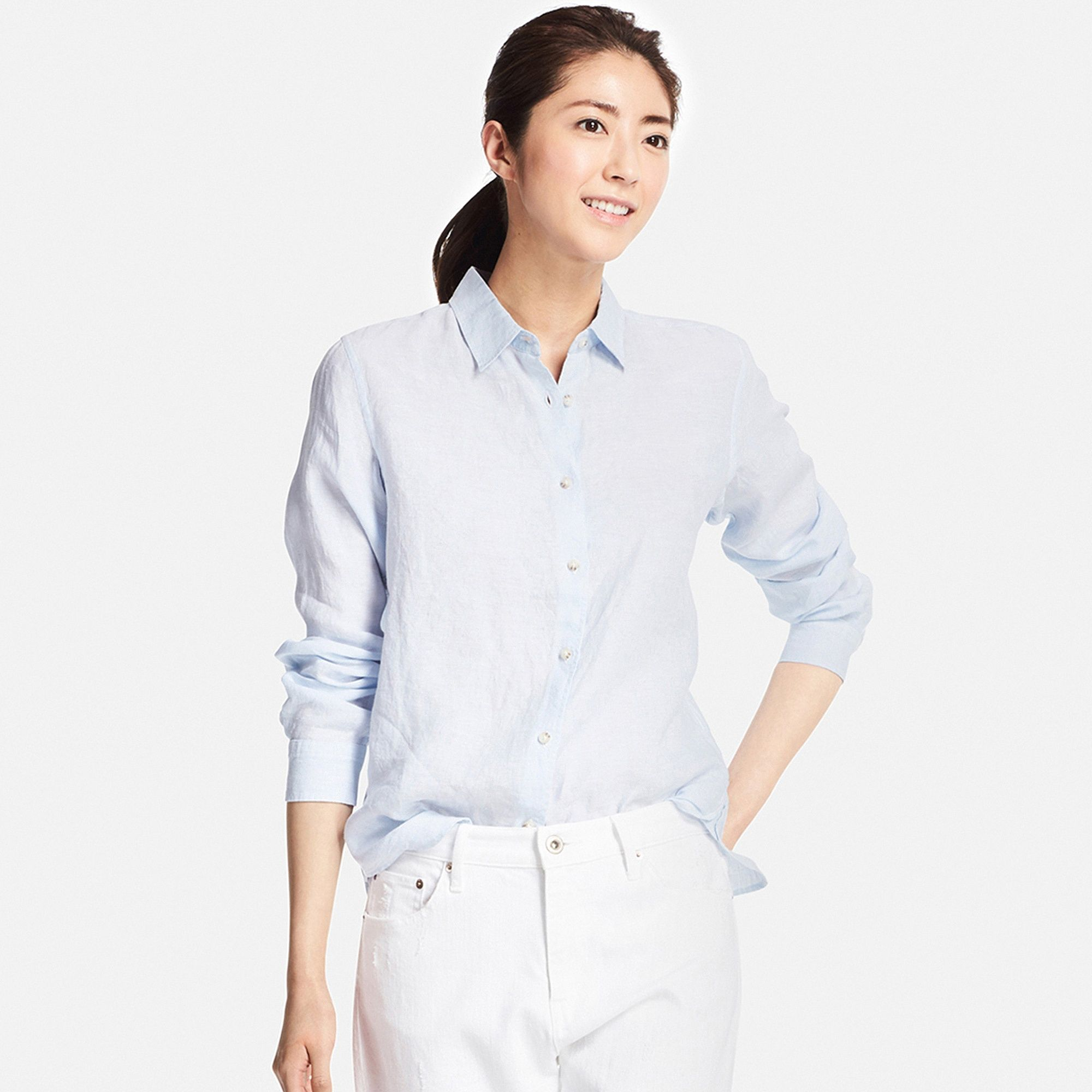 Uniqlo flannel jacket  WOMEN Premium Linen Long Sleeve Shirt  UNIQLO  Shirt uniqlo