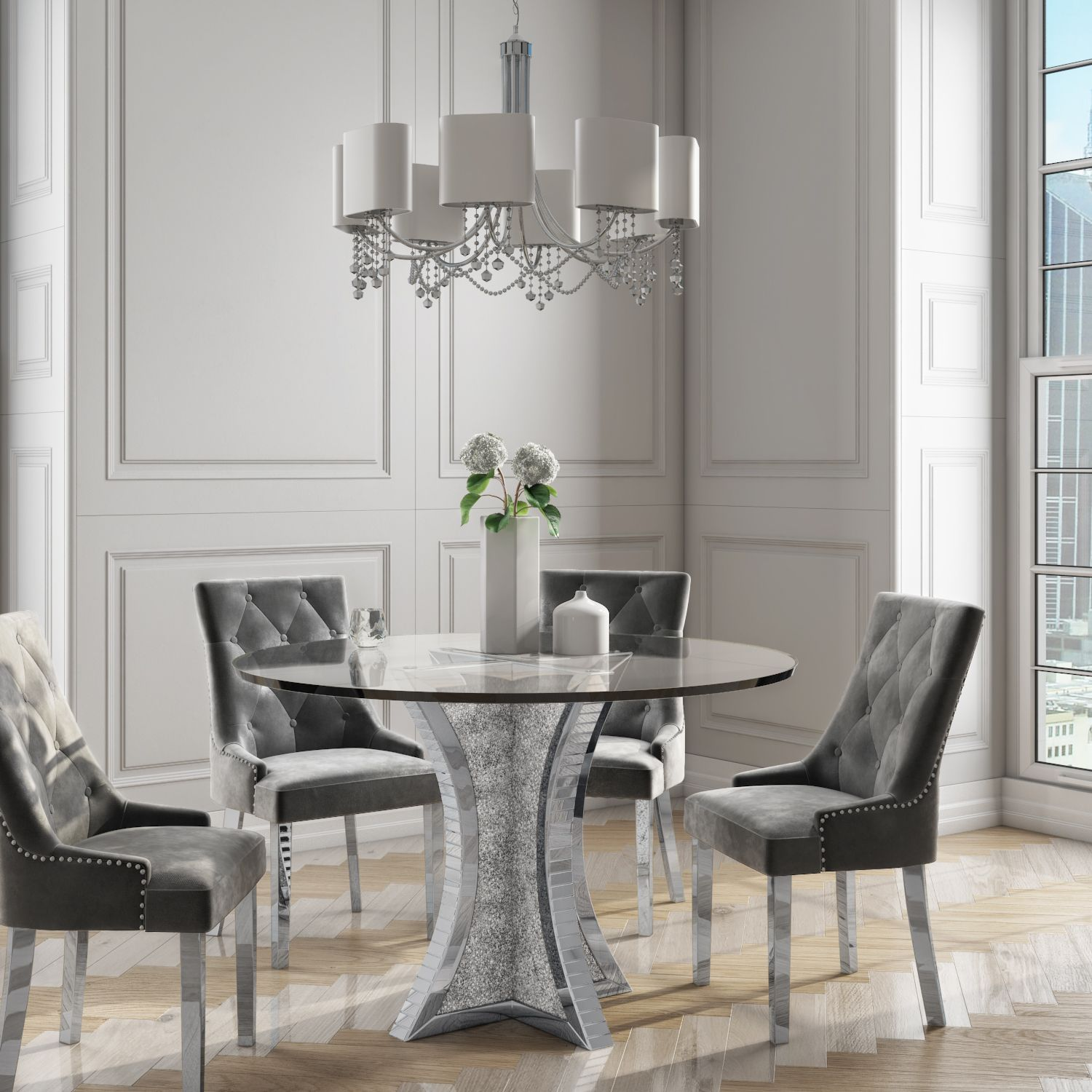 Luxury Mirrored Glass Dining Table With 4 Grey Velvet Dining Chairs Set Dining Room Furniture Dining Table Glass Dining Table