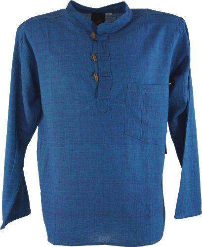 Guru Shop De nepal fischerhemd goa hippie blau männerhemden variante guru