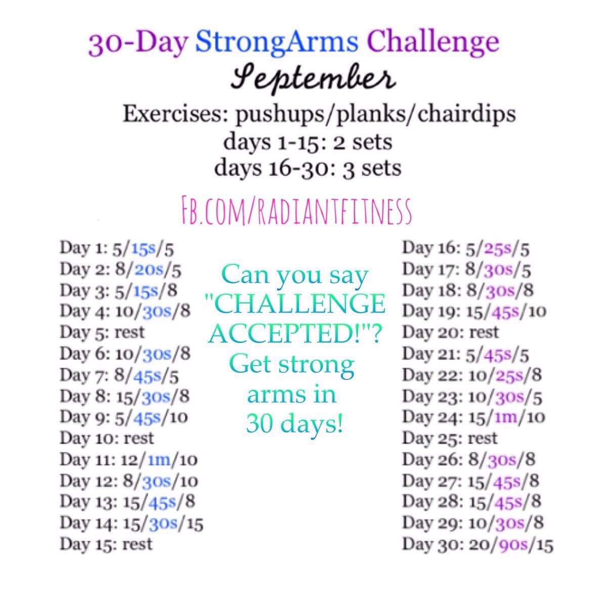 30 day challenge: push-ups, planks and chair dips  | In