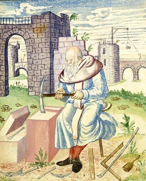 Tailleur de pierre, Mendel (1575). Ce genre de document est vraiment intéressant, on y voit tous les outils utilisés à l'époque, jusqu'au petit tabouret qui permet de garder de la mobilité grâce à son pied unique.