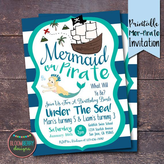 Pirates And Mermaids Party Invitation Mermaid By Bloomberrydesigns