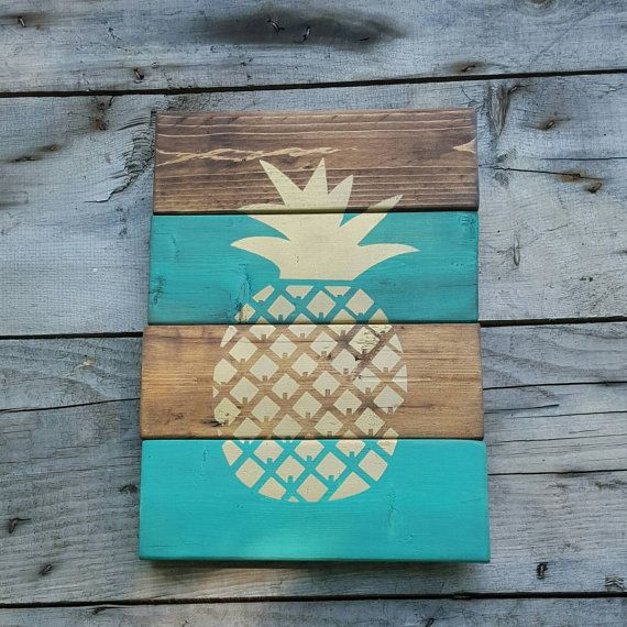 Wood Sign Pineapple Sign Reclaimed Wood Wood Wall Art