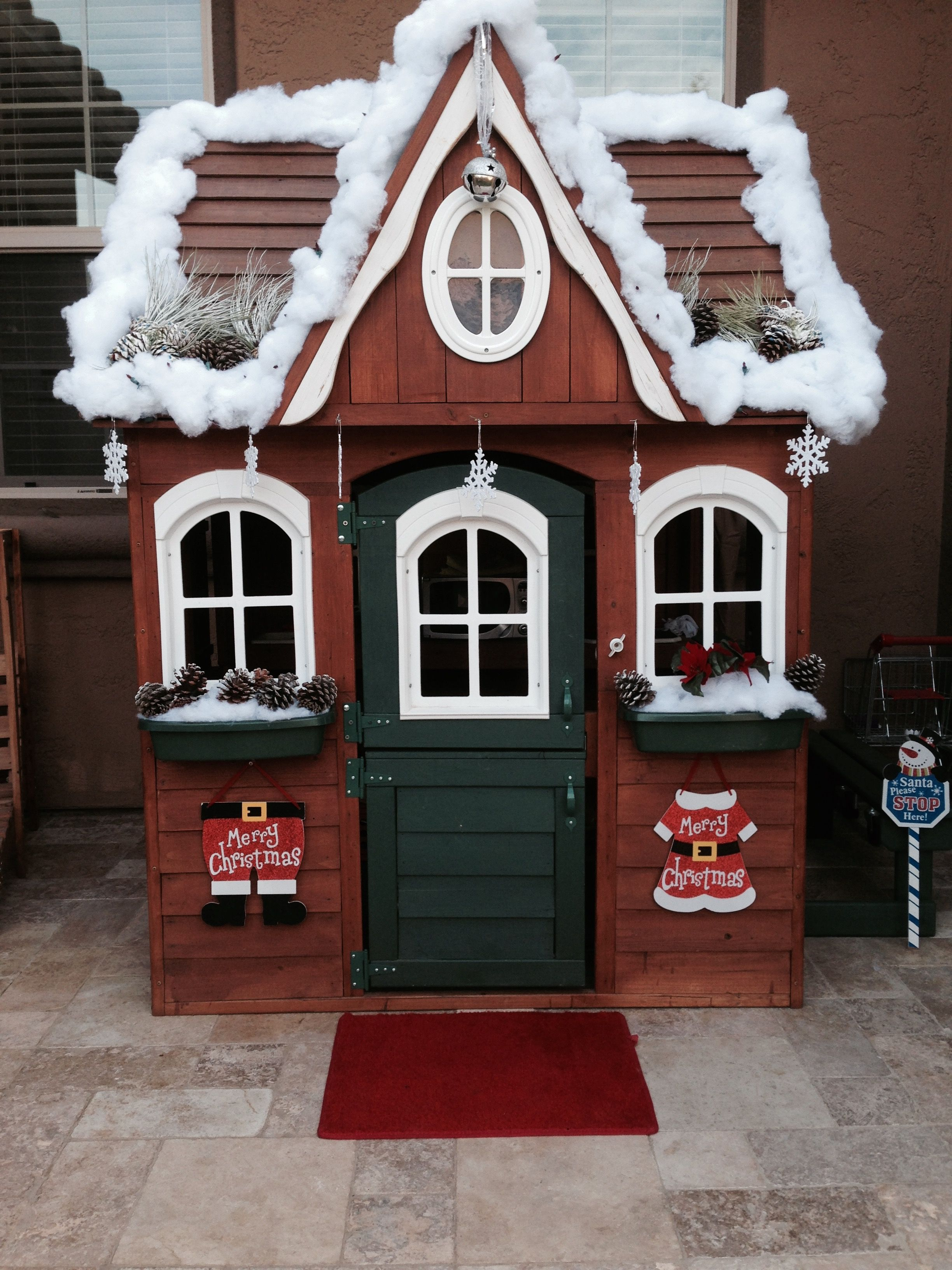 Mom decorated the kids playhouse for Christmas! So cute ...