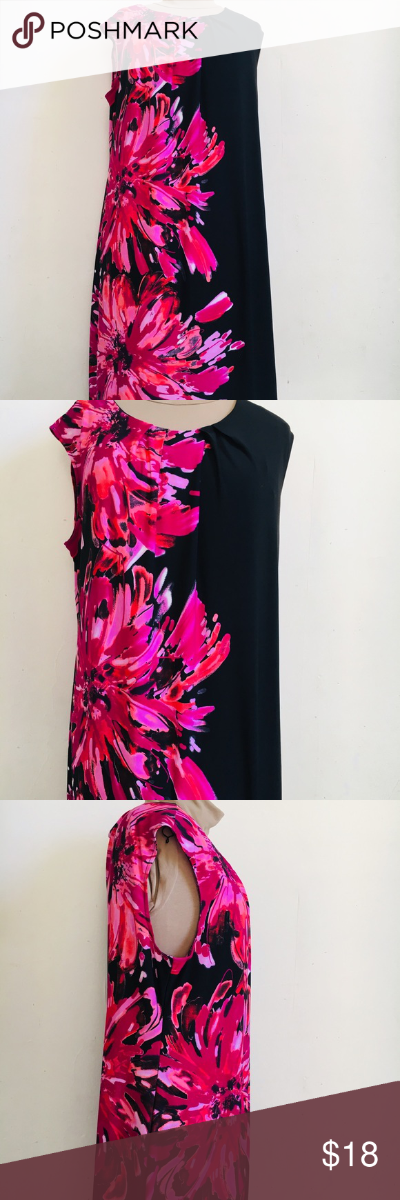 Deessbarn Dress Black And Roses Pink Size 18 Black Dress Dress Barn Dresses Dresses [ 1740 x 580 Pixel ]