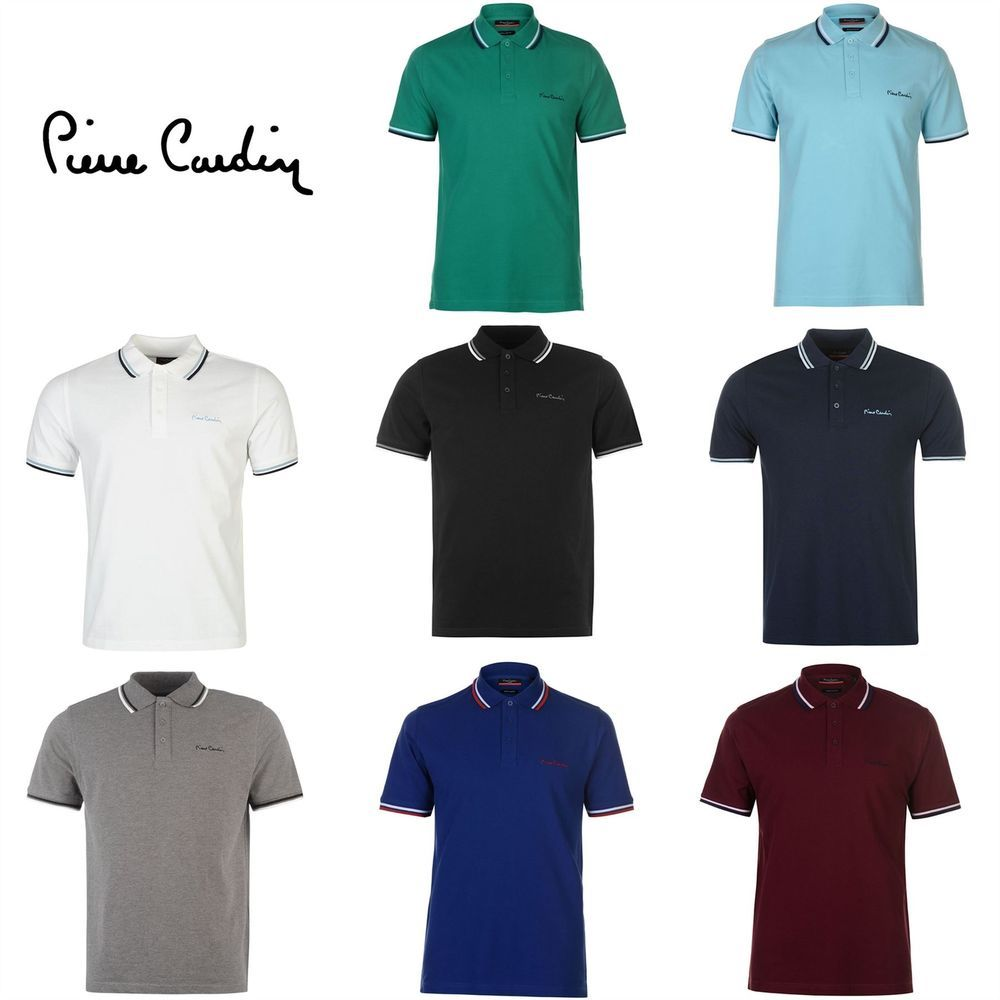 7ff258c48 Pierre Cardin Tipped Polo Shirt Mens Top Tee Casual Collar T-Shirt ...