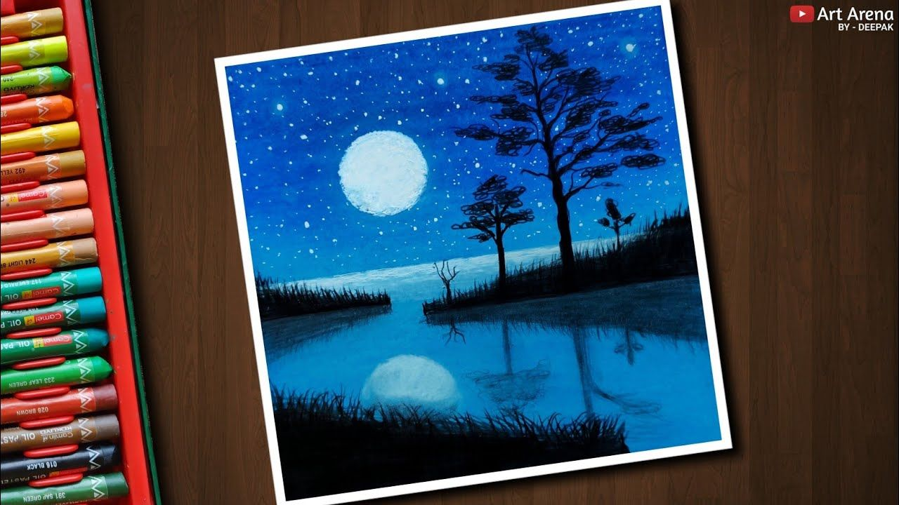 Beautiful Moonlight Landscape Drawing For Beginners With Oil Pastels Step By Step Youtube Oil Pastel Colours Landscape Drawings Soft Pastels Drawing