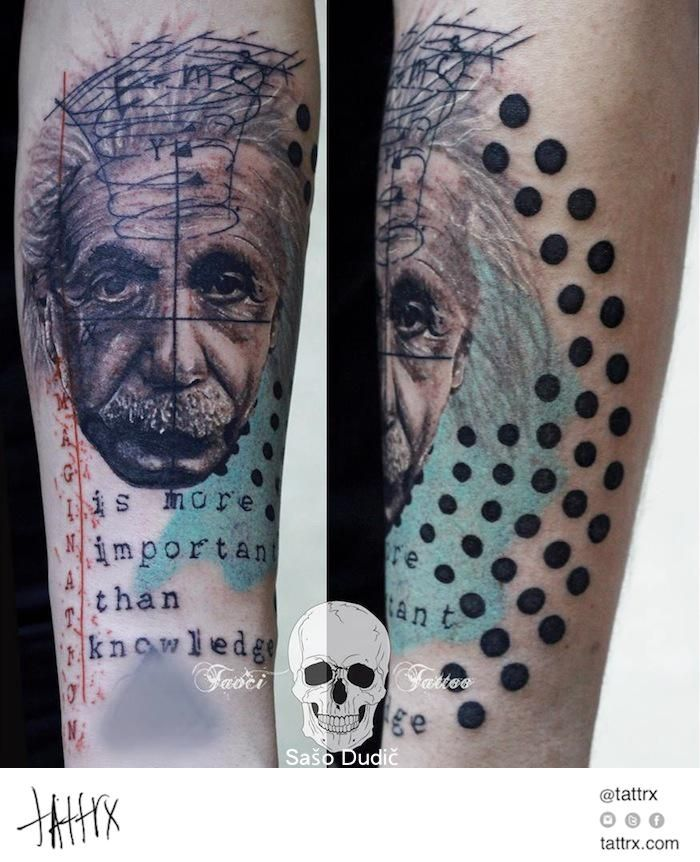 Saso Dudic Tattoo Einstein Portrait Imagination Is More