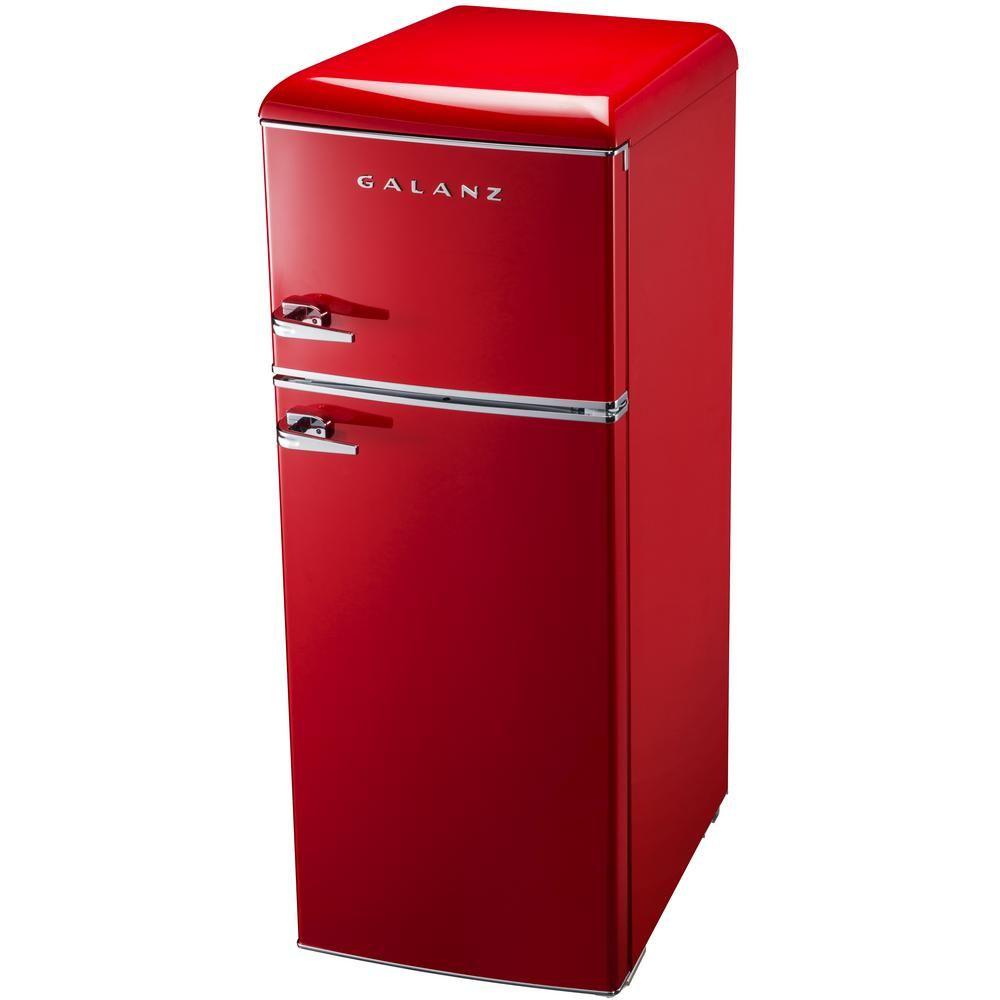 Galanz 7 6 Cu Ft Mini Retro Fridge In Red Bcd 215v 62h The Home Depot Retro Fridge Color Refrigerator Mini Kitchen