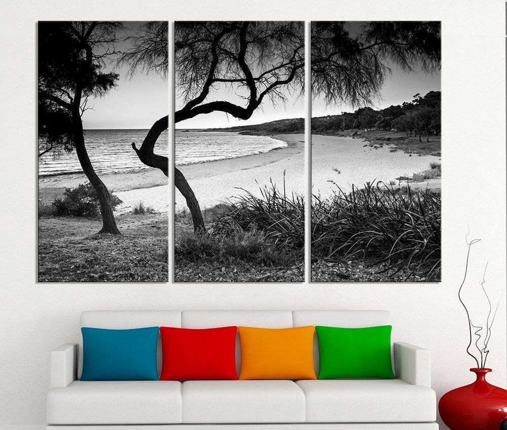 Large Wall Art Canvas Ocean Beach And Tree Print 3 Panel Ocean Lands Large Canvas Wall Art Extra Large Wall Art Wall Art Canvas Prints