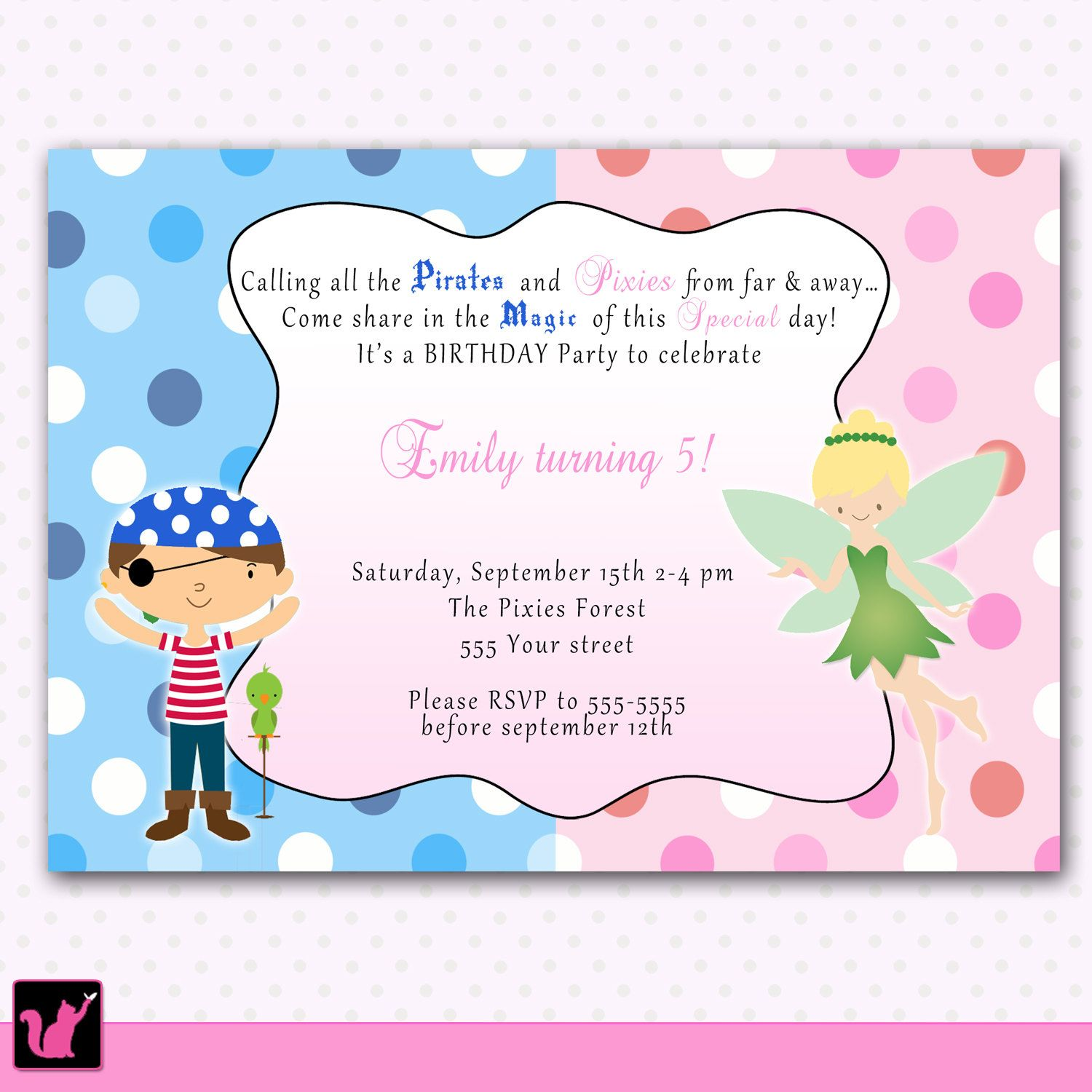 pirate fairy birthday invitation personalized card kids party printable personalized pirate fairy pixie princess girl boy birthday party invitation card costume brother sister