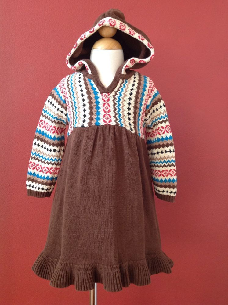 HANNA ANDERSSON Brown Fair Isle Knit Sweater Dress Size 80 2T ...