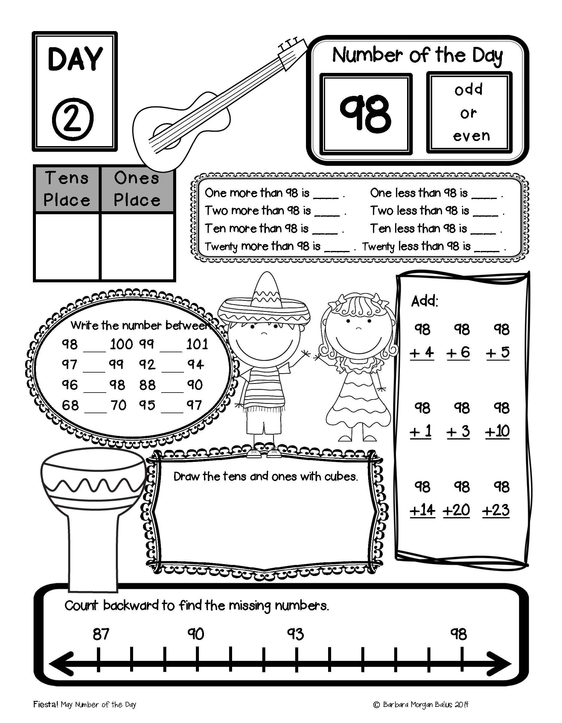 Place Value Number Sense First Grade Math Number Of The Day