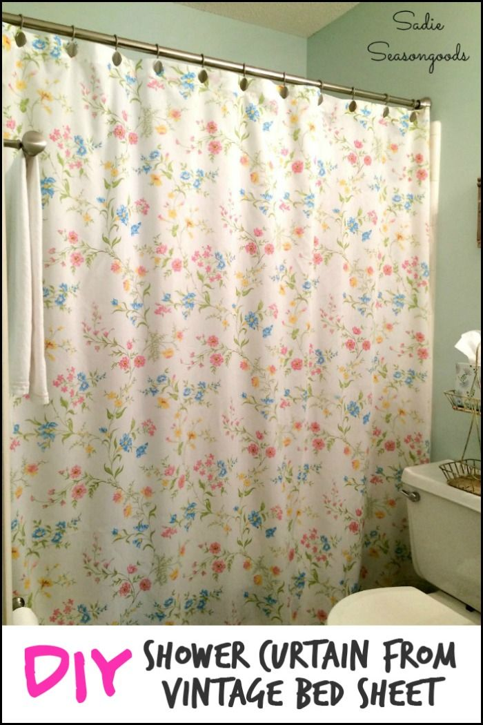 Create Your Own Shower Curtain Using A Vintage Bed Sheet