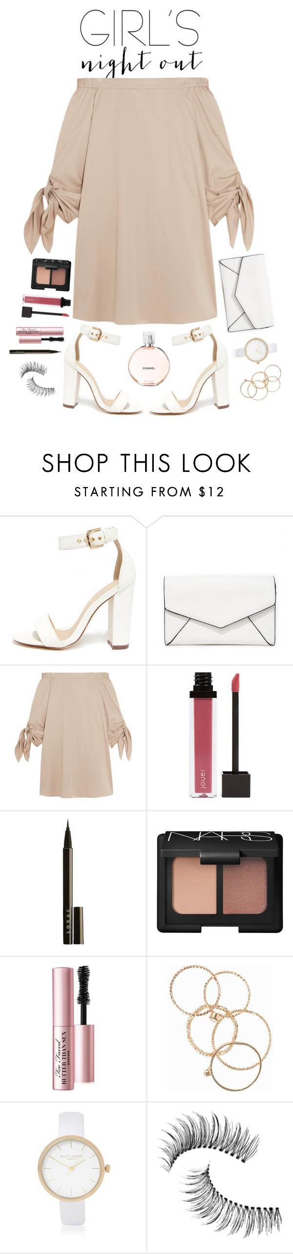 """""""Girl's Night Out"""" by kmeowj ❤ liked on Polyvore featuring Liliana, LULUS, TIBI, Jouer, LORAC, NARS Cosmetics, Too Faced Cosmetics, NLY Accessories, River Island and Trish McEvoy"""