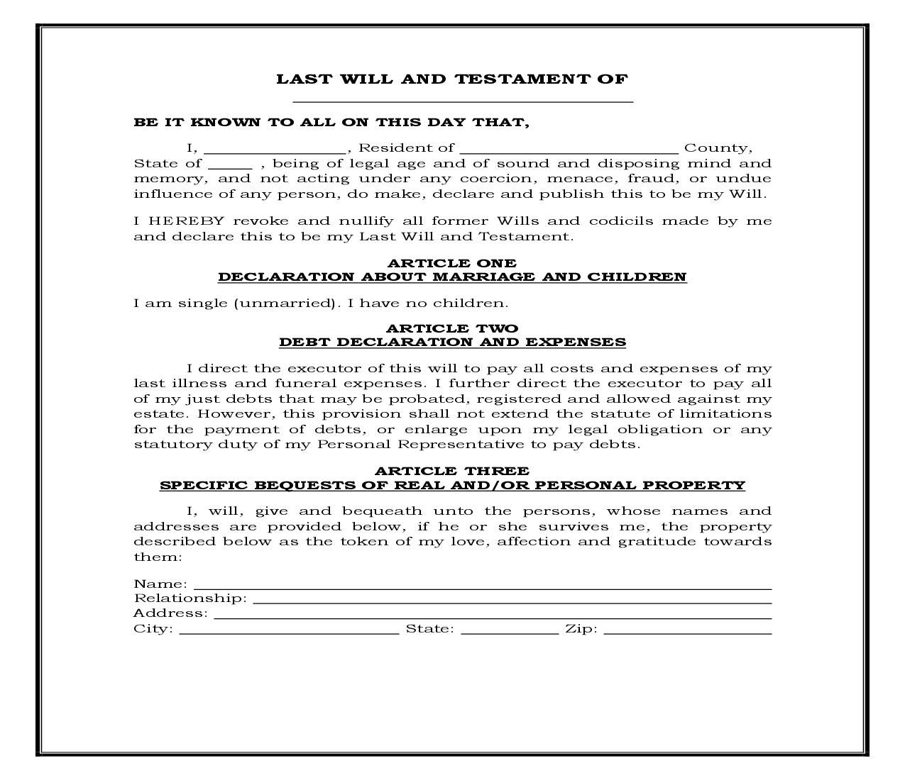 This Is A Legal Forms Form That Can Be Used For Wills For