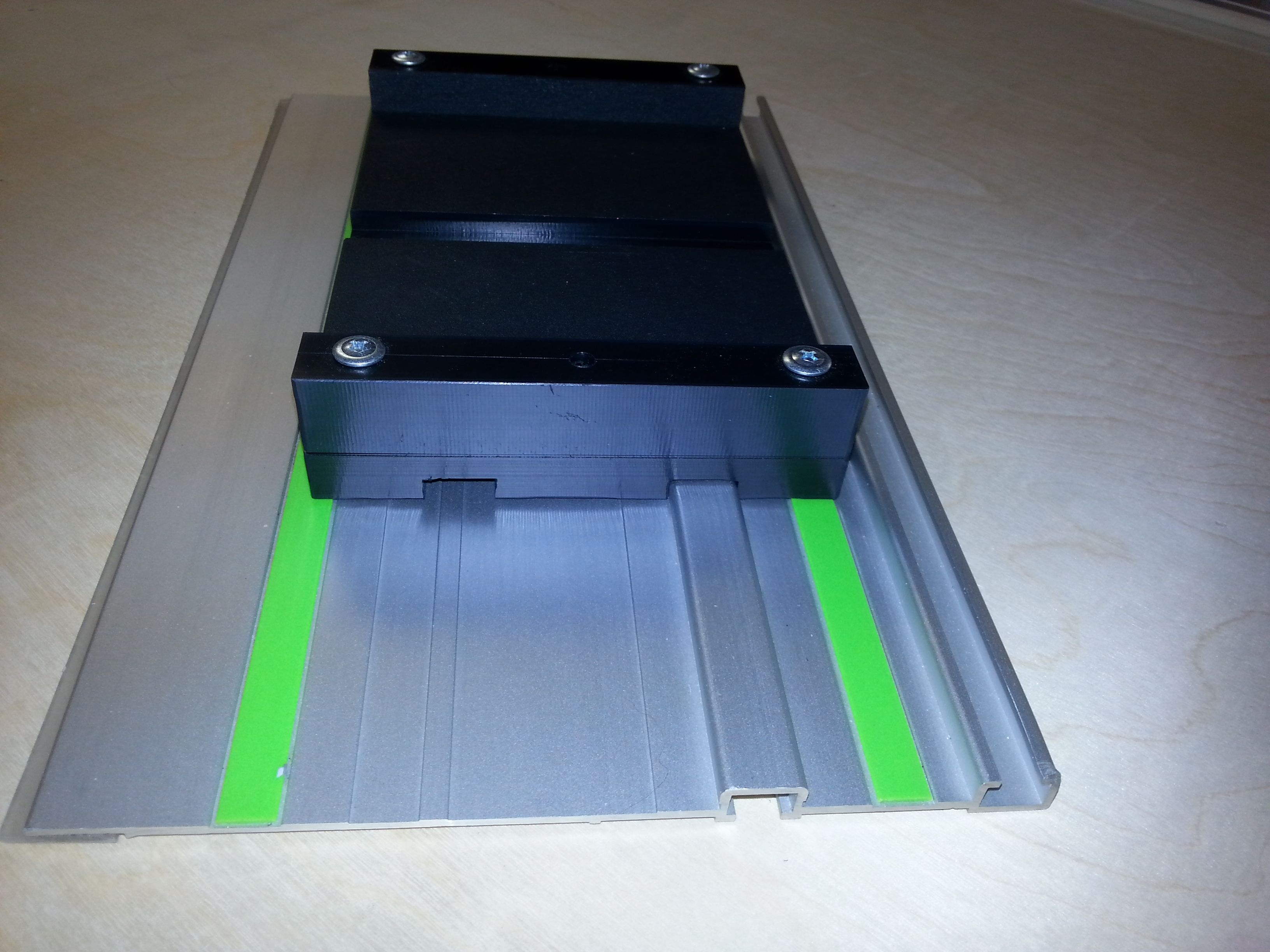 EZSmart routing attachment adapted to ride on the Festool track ...