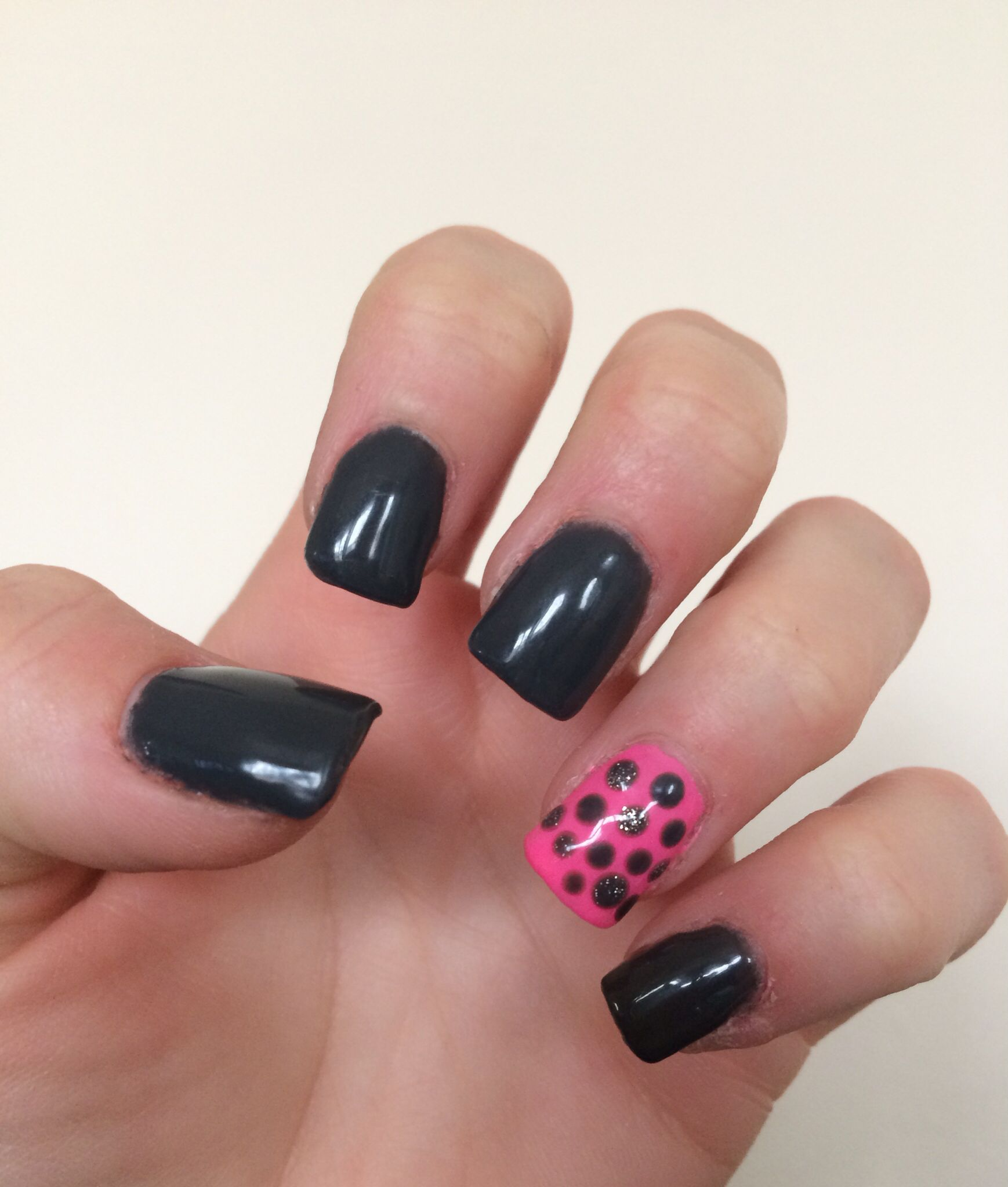 Dark grey with a bright pink accent nail. #diy #gelnails | Nails by ...