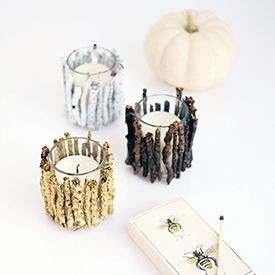 These rustic-chic candle holders are perfect for brightening up your holiday table.