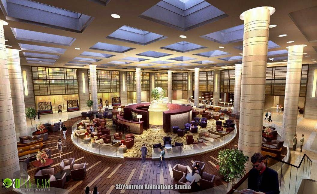 #Commercial Hotel 3d Interior Rendering Design in Paris , #Marseille ,  #France