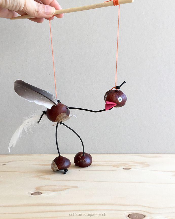 Eine Vogel-Marionette aus Rosskastanien - Basteln im Herbst #bastelnmitkastanienkinder