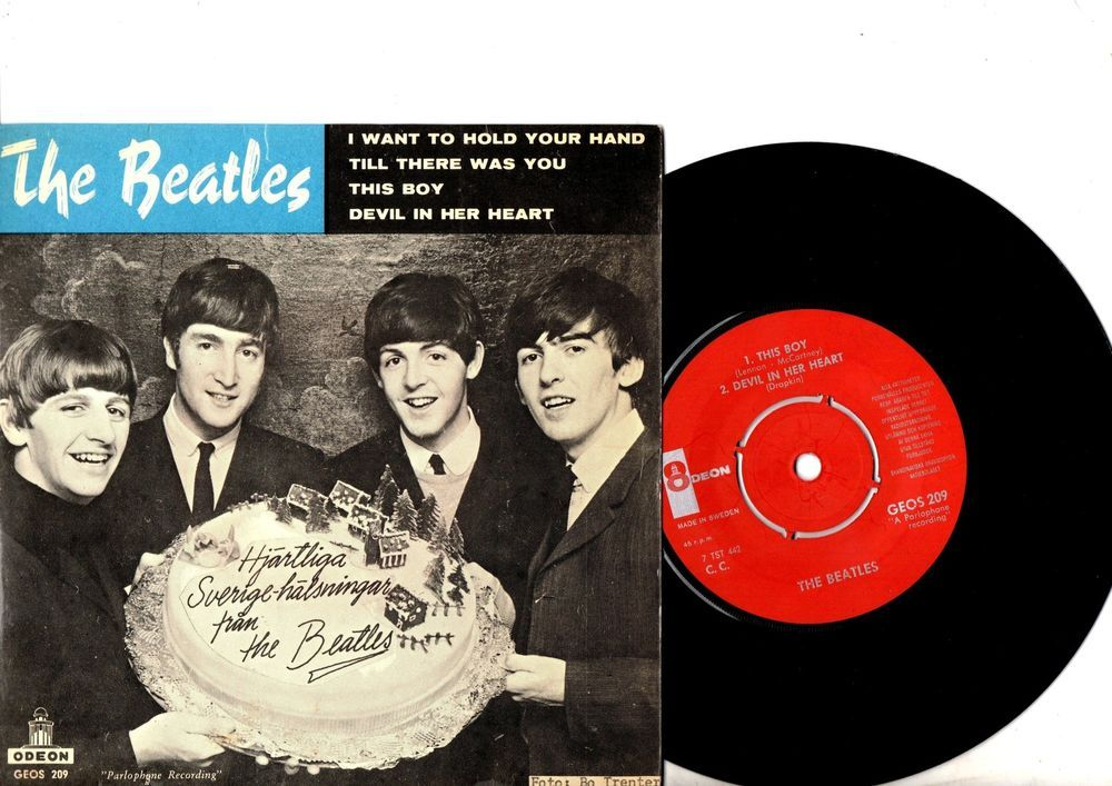 BEATLES EP PS I Want To Hold Your Hand SWEDEN RED LABEL very rar GEOS209 Swedish
