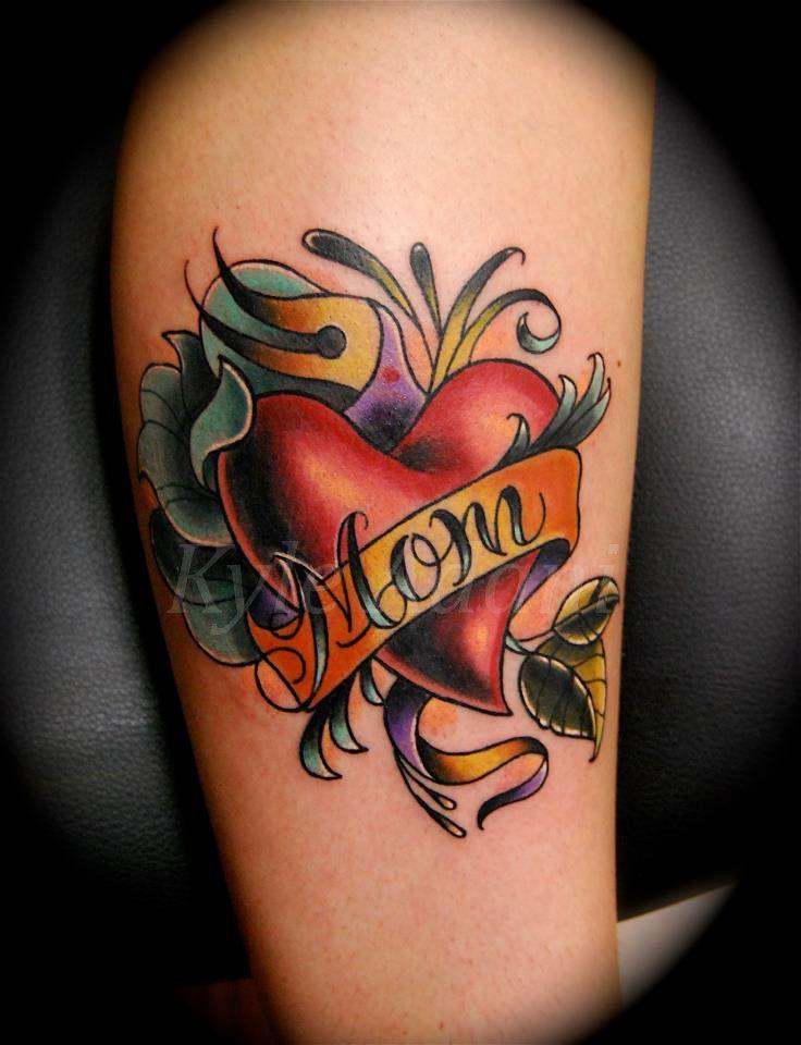 Colourful Leg Mom Tattoo Family Tattoo Colorful Mom Tattoo