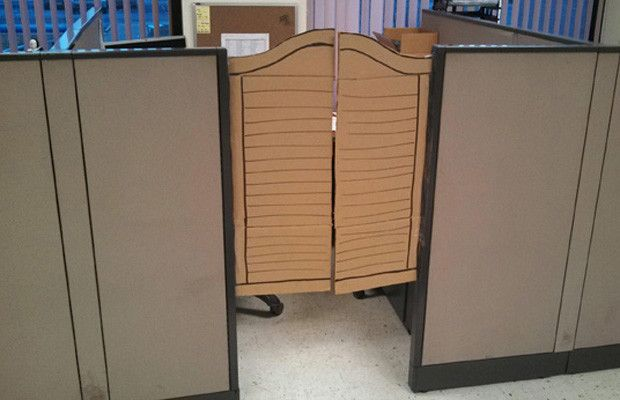 Cubicle Cardboard Doors Google Search Work Cubicle Cubicle Decor Office Hacks